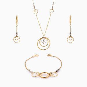 سرویس طلا 18 عیار زنانه زنجیری مدل حلقه و گوی کد ST0140