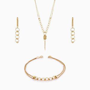 سرویس طلا 18 عیار زنانه زنجیری مدل گوی و حلقه کد ST0141