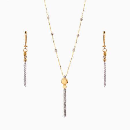 سرویس طلا 18 عیار زنانه اسپورت مدل گوی و زنجیر کد ST0144
