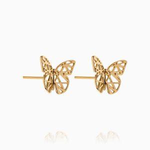 نیم ست طلا 18 عیار زنانه فانتزی مدل پروانه کد ST0155