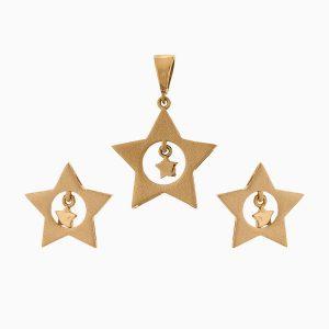 نیم ست طلا 18 عیار زنانه فانتزی مدل ستاره کد ST0158