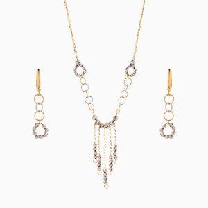 سرویس طلا 18 عیار زنانه زنجیری مدل حلقه و گوی کد ST0163