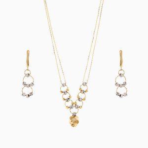 سرویس طلا 18 عیار زنانه زنجیری مدل حلقه و گوی با آویز طرح دار کد ST0164
