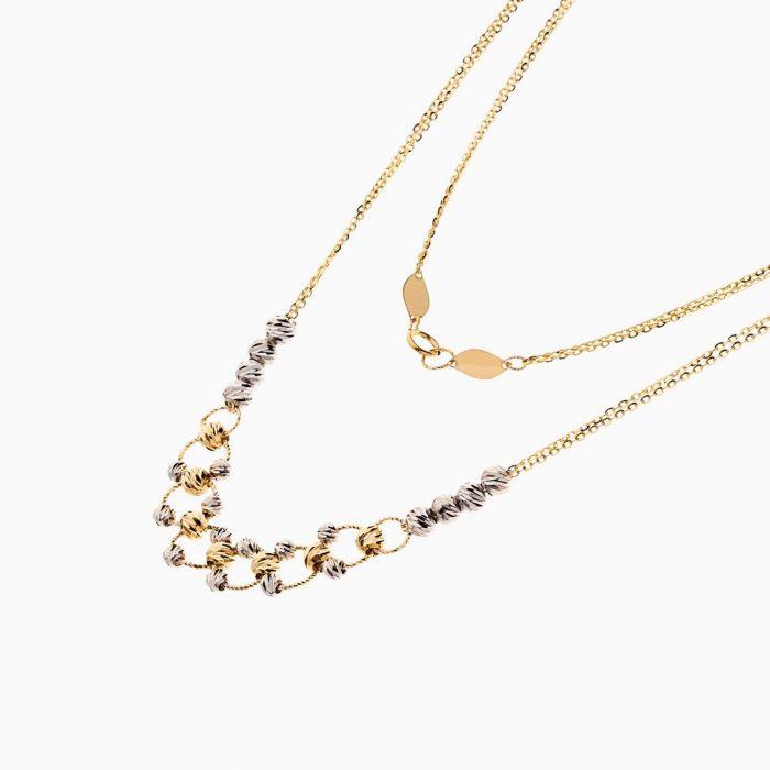 سرویس طلا 18 عیار زنانه زنجیری مدل گوی و حلقه کد ST0165