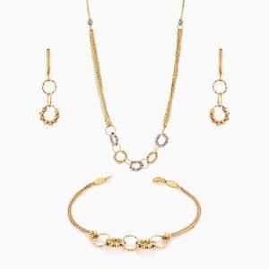 سرویس طلا 18 عیار زنانه زنجیری مدل حلقه و گوی کد ST0166