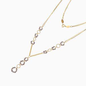 سرویس طلا 18 عیار زنانه زنجیری مدل حلقه و گوی کد ST0170
