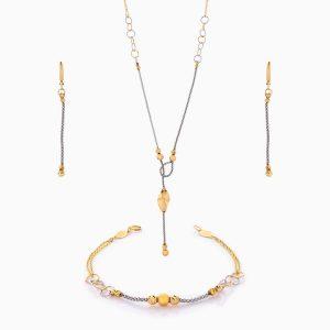 سرویس طلا 18 عیار زنانه زنجیری مدل گوی و زنجیر با آویز طرح دار کد ST0171