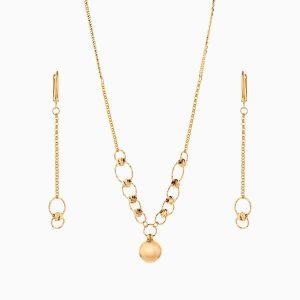 سرویس طلا 18 عیار زنانه زنجیری مدل حلقه و گوی با آویز کد ST0174