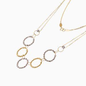 سرویس طلا 18 عیار زنانه زنجیری مدل حلقه و گوی کد ST0175