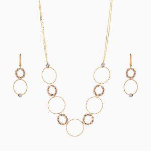 سرویس طلا 18 عیار زنانه زنجیری مدل حلقه و گوی کد ST0177
