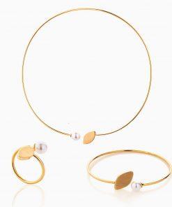 سرویس طلا 18 عیار زنانه چوکر با سنگ مروارید مدل مروارید و برگ کد ST0181