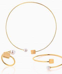 سرویس طلا 18 عیار زنانه چوکر با سنگ مروارید مدل مروارید و مکعب کد ST0182