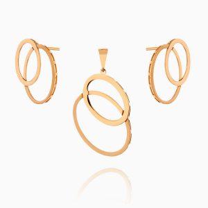 نیم ست طلا 18 عیار زنانه اسپورت مدل حلقه ای کد ST0184