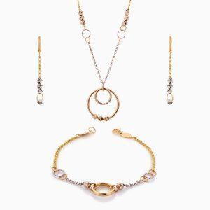سرویس طلا 18 عیار زنانه زنجیری مدل زنجیر وگوی وحلقه کد ST0186