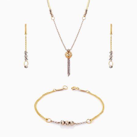 سرویس طلا 18 عیار زنانه زنجیری مدل گوی و زنجیر با آویز طرح دار کد ST0187