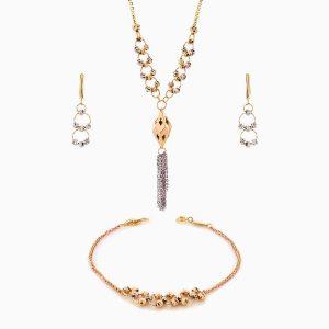 سرویس طلا 18 عیار زنانه زنجیری مدل حلقه و گوی با آویز طرح دار کد ST0188