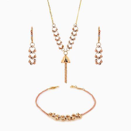 سرویس طلا 18 عیار زنانه زنجیری مدل حلقه و گوی با آویز طرح دار کد ST0189