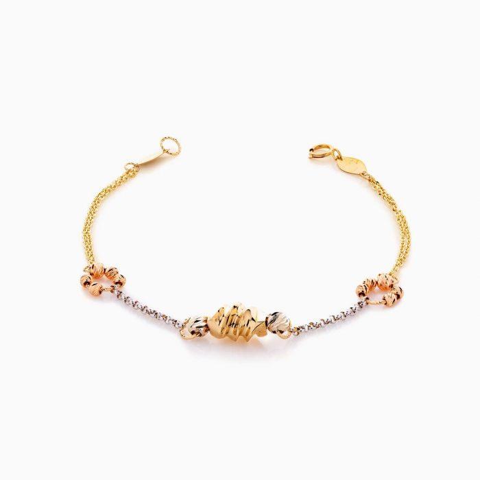 سرویس طلا 18 عیار زنانه زنجیری مدل گوی و زنجیر کد ST0191