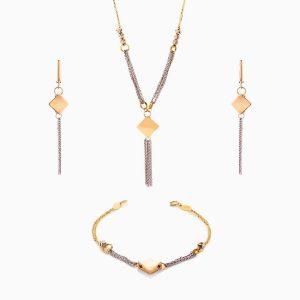 سرویس طلا 18 عیار زنانه زنجیری مدل گوی و زنجیر با آویز مربع کد ST0192