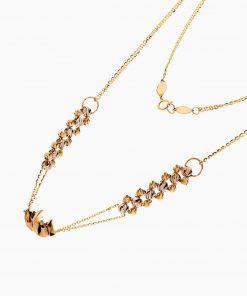 سرویس طلا 18 عیار زنانه زنجیری مدل حلقه و گوی با آویز طرح دار کد ST0193