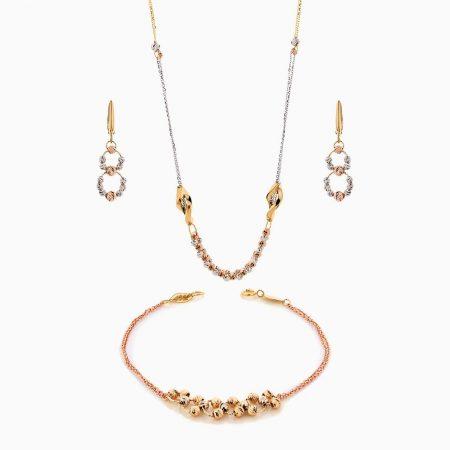 سرویس طلا 18 عیار زنانه زنجیری مدل آلبرنادو کد ST0194