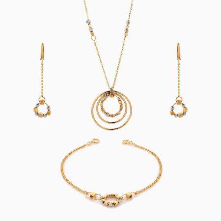 سرویس طلا 18 عیار زنانه زنجیری مدل حلقه و گوی کد ST0195