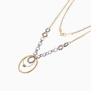 سرویس طلا 18 عیار زنانه زنجیری مدل حلقه و گوی با آویز کد ST0196