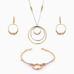 سرویس طلا 18 عیار زنانه زنجیری مدل حلقه و گوی با آویز کد ST0197