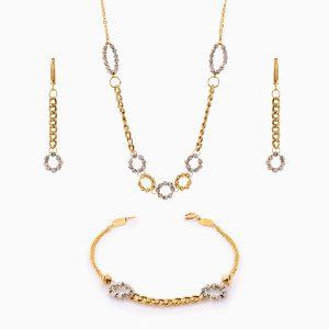 سرویس طلا 18 عیار زنانه زنجیری مدل کارتیر کد ST0198
