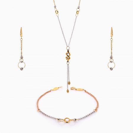 سرویس طلا 18 عیار زنانه زنجیری مدل حلقه و گوی باآویز طرح دار کد ST0199