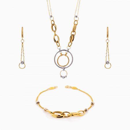 سرویس طلا 18 عیار زنانه زنجیری مدل حلقه و گوی کد ST0200