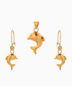 نیم ست طلا 18 عیار زنانه مدل دلفین کد ST0202