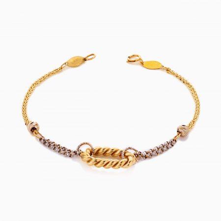 دستبند طلا 18 عیار زنانه زنجیری مدل حلقه یورمن کد BL0426
