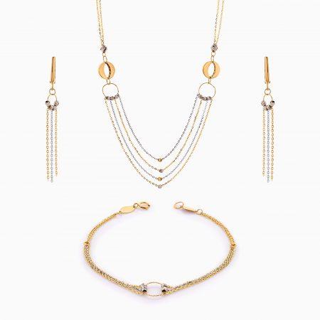 سرویس طلا 18 عیار زنانه زنجیری مدل سینه ریز گوی و حلقه کد ST0204