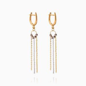 گوشواره طلا 18 عیار زنانه زنجیری مدل گوی و حلقه آویزدار کد ER0303