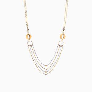 گردنبند طلا 18 عیار زنانه زنجیری مدل حلقه و گوی کد NL0294
