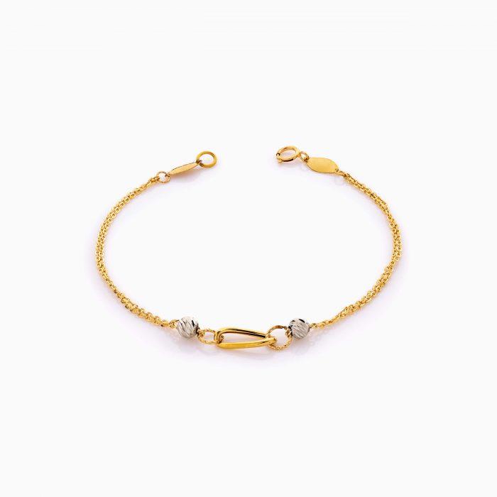 دستبند طلا 18 عیار دخترانه زنجیری مدل حلقه و گوی کد BL0429