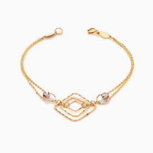 دستبند طلا 18 عیار زنانه زنجیری طرح لوزی کد BL0431