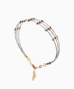 دستبند طلا 18 عیار زنانه النگویی مدل سه رج گوی دار کد BL0433