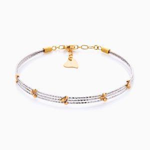 دستبند طلا 18 عیار زنانه النگویی مدل سه رج گوی دار کد BL0434