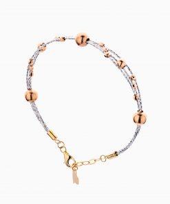 دستبند طلا 18 عیار زنانه النگویی مدل سه رج گوی دار کد BL0435