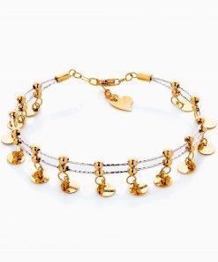 دستبند طلا 18 عیار زنانه النگویی مدل دو رج گوی و آویز کد BL0436