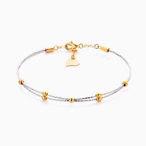 دستبند طلا 18 عیار زنانه النگویی مدل دو رج گوی دار کد BL0437