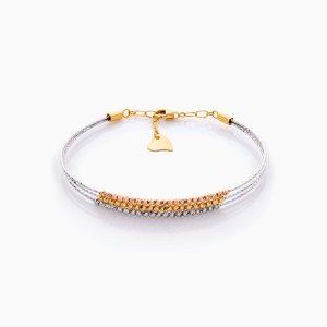 دستبند طلا 18 عیار زنانه النگویی مدل سه رج گوی دار کد BL0438