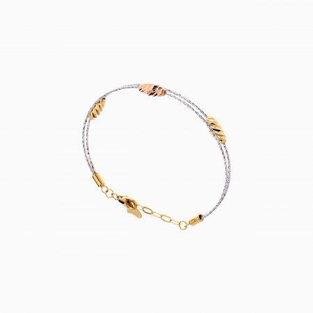 دستبند طلا 18 عیار زنانه النگویی مدل دو رج طرح دار کد BL0439