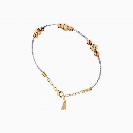 دستبند طلا 18 عیار زنانه النگویی مدل دو رج گوی دار کد BL0440