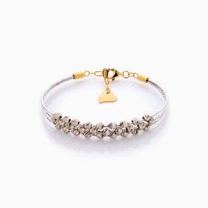 دستبند طلا 18 عیار زنانه النگویی مدل سه رج گوی دار کد BL0441