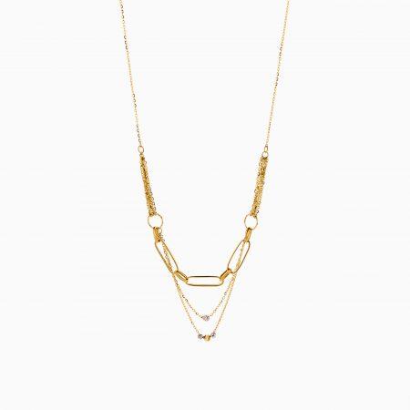 گردنبند طلا 18 عیار زنانه زنجیری مدل سینه ریز گوی دار کد NL0301