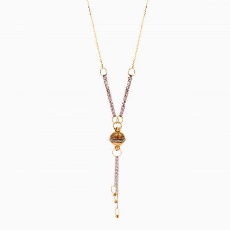 گردنبند طلا 18 عیار زنانه زنجیری مدل آویز طرح دار کد NL0303