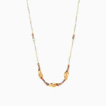 گردنبند طلا 18 عیار زنانه زنجیری مدل گوی و آویز پیچی کد NL0305